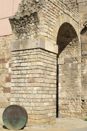 ccedil: Remains of the Roman aqueduct in Barcelona