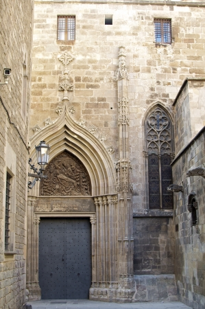 Side entrance to the Gothic Cathedral in the Gothic quarter Barcelona  photo