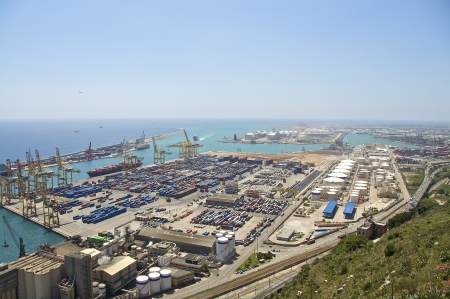 Freight and container port Barcelona Standard-Bild