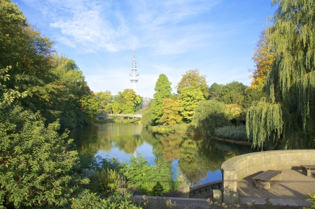 Planten und Blomen is an inner-city park in the heart of Hamburg Stock Photo