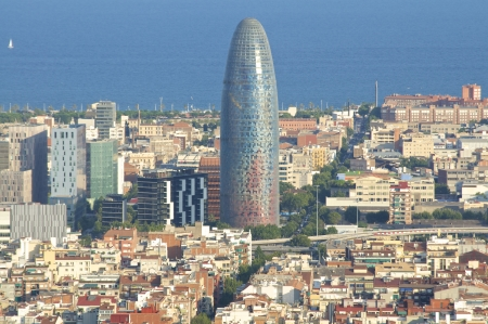 Barcelona, Cityscape  The Torre Agbar in the Barcelona district Poblenou