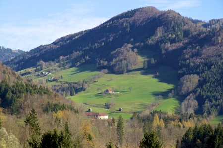 agri: Landscape with Farmhouse in the river Enns valley in Austria   Stock Photo