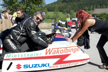 location shot: Grossraming on the occasion of the motorcycle revival on the Ennstalring on August 07, 2013  Formerly, in the 1960s, the GP was an international racing in Austria