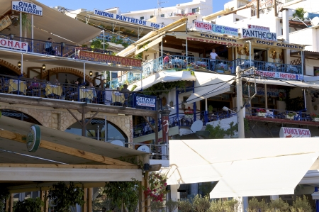 Agia Galini, Greece - May 26, 2013  People have dinner in greek Taverns and restaurants in Agia Galini on Crete