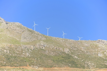 Renewable energy through wind power in the mountain regions in Crete Stock Photo