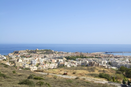 View to the Venetian fortress  Fortezza  in Rethymno on Crete  Rethymno is lovely nice city with a wonderful old city part and venetian port   photo