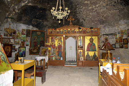 Monolithic church or rock-hewn church in the Martsalo George on Crete