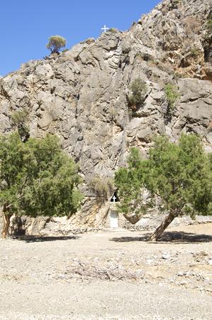 monolithic: Monolithic church or rock-hewn church in the Tripiti Gorge near Lentas on Crete