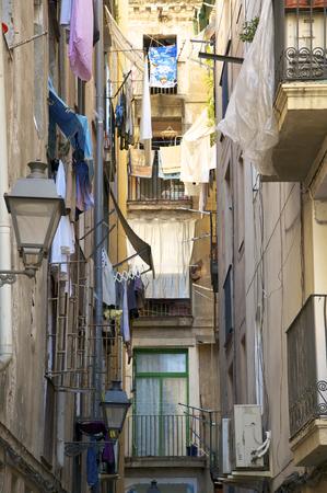 tenement: Neighborhood in the narrow backyards in Barcelona