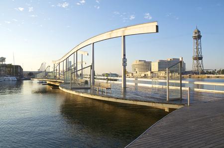 The Marina Port Vell and the Rambla del Mar in Barcelona Stock Photo