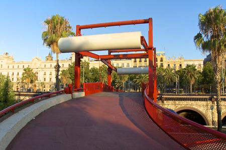 colom: Footbridge to the Passeig de Colom at the port of Barcelona