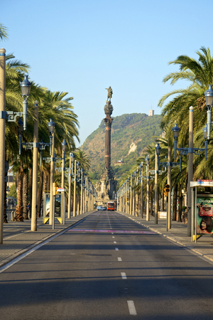 colom: Early morning on the Boulevard Passeig de Colom in Barcelona. The boulevard leads along the harbor to Columbus monument Editorial