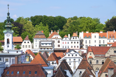 statutory: Baroque roofs and houses from the old part of the small city in Upper Austria. The city has a long history as a manufacturing center Stock Photo