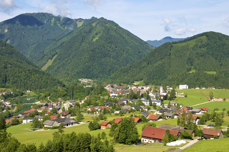 upper austria: Panorama view to the village Gro?raming in the Enns valley in Upper Austria. Stock Photo