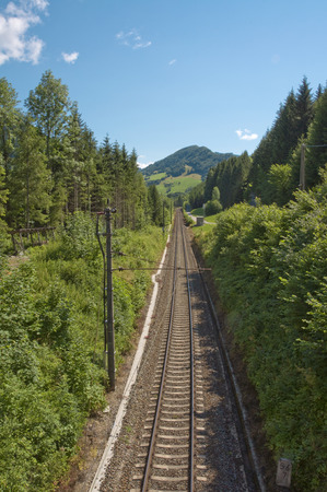 Rail Track along the river Enns valley in Upper Austria. The track leads along the Lime Stone Alps. This Part is one of the most beautiful Landscapes in Austria.