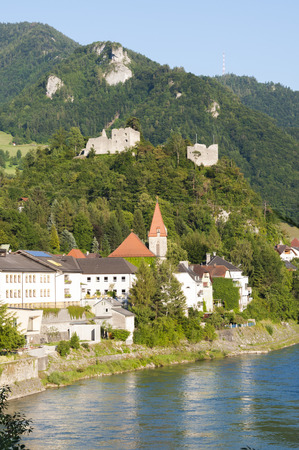 upper austria: The small village Losenstein in the Enns valley in Upper Austria. The Castle is the biggest and oldest in Upper Austria