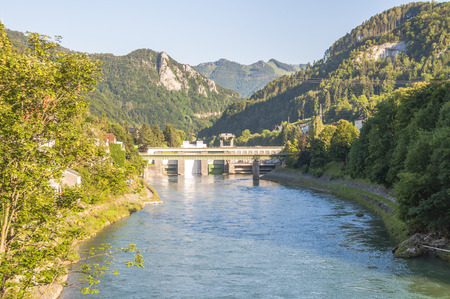 upper austria: Hydroelectric power station in the river Enns in Upper Austria Stock Photo