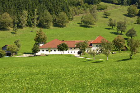 Landscape with Farmhouse in the Enns valley in Austria. The Enns valley is one of the most beautiful Landscapes in Upper Austria. The Farmhouse stands in Groraming.