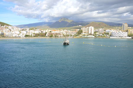 tourist spot: Hotels and Apartments and the marina of Los Cristianos on Tenerife. Los Cristianos is a tourist spot in the south of Tenerife