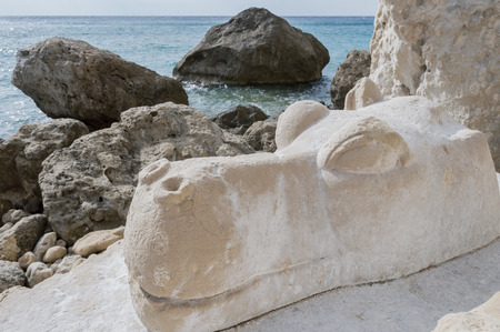 chiseled: Hippo sculpture from stone. In the 1970s. from hippies in the stone chiseled sculptures at the Red Beach near Matala, Crete, Greece Stock Photo