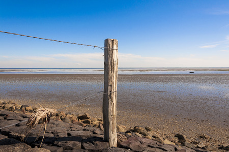 wadden sea: Hay at the Wire Fence. In the background the north sea with the wadden sea