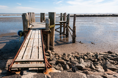mooring bollards: Pier on the Hallig Langeness in north Friesland, a part of north Germany