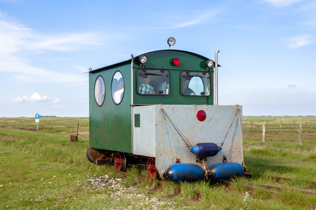 the mainland: Railcar to transport tourists and freight from the Hallig Langeness to mainland and return