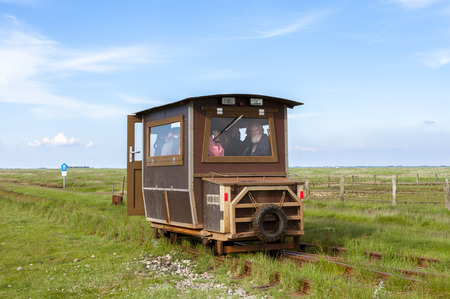 speeder: Railcar to transport tourists and freight from the Hallig Langeness to mainland and return