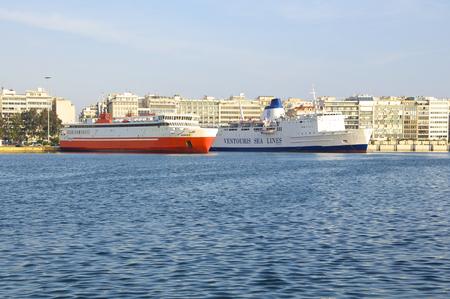 seaports: erryboats in the harbor of Piraeus to Heraklion on April 09, 2014. Port of Piraeus, as the largest Greek seaport, is one of the largest seaports in the Mediterranean Sea Editorial