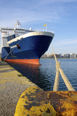 sea seaport: erryboats in the harbor of Piraeus to Heraklion on April 09, 2014. Port of Piraeus, as the largest Greek seaport, is one of the largest seaports in the Mediterranean Sea Editorial