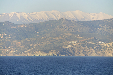 ida: The snowy IDA mountains with the Psiloritis as the highest elevation on the island Crete in April 2014. It is one of the most beautiful times in the year on the Island