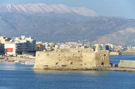 lasted: Venetian Fortress in the port entrance of Heraklion on Crete. The Venetian rule lasted more than 400 years on the Iceland