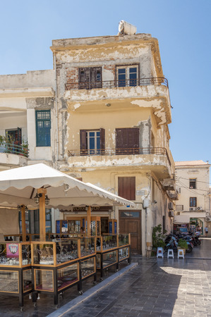 Gift Shops in the narrow streets of the old town in Rethymno. The city is known from the old venetian part of the town