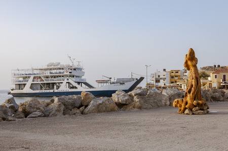 Art week at the boardwalk in Paleochora. In the background the ferry to the island Gavdos, the southernmost island in Greece