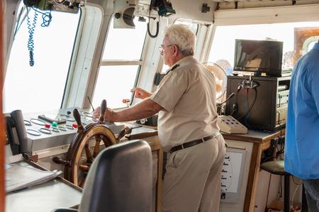 Nautical bridge on the ferry to Agia Roumeli and to the Iceland Gavdos. The Captain is on the bridge