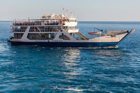 Ferryboat in Agia Roumeli on Crete. The Samaria trail terminates here. All tourists have to go back by ferry. The Samaria Gorge is one of the most famous landscapes on Crete Editorial