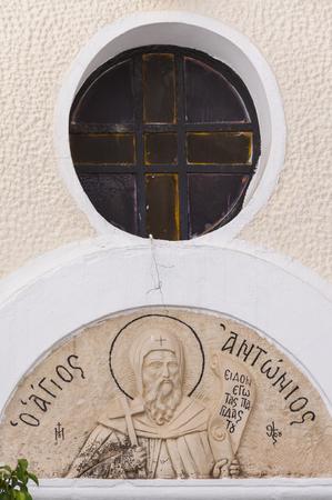 round window: Fresco under round window on a Greek Church in Rethymno, Greece