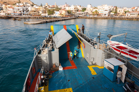 cast off: The ferry to Agia Roumeli and to the Iceland Gavdos leaves the pier of Paleochora