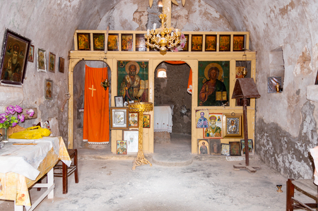 local landmark: Small greek orthodox chapel on the trail on Gavdos, Greece. The chapels are dedicated to the Saints. In each chapel are wonderful icons to visit Editorial