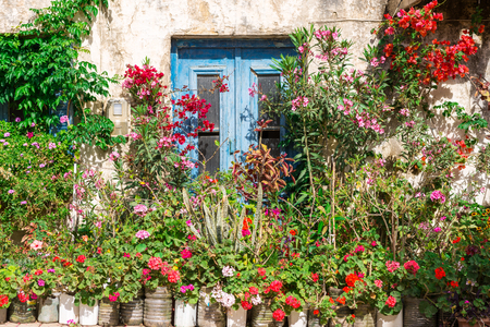 dwelling: Flowers, ornamental plants and greenery at a house in Paleochora in the south-west of Crete. The village is situated on a headland. The citizens of the village decorates all the homes