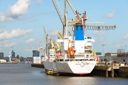 Reefer ship in the Hansa harbor basin for unloading fruits and banana. Here is the fruit - and refrigeration center for perishable commodities Hamburg Editorial