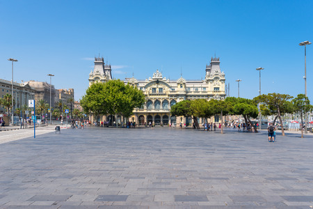 Headquarters building of the Port Authority close to the famous Columbus monument in Barcelona