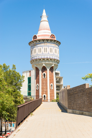 The restored water tower Torre de les Aigues from 1905 in the Barceloneta district of Barcelona
