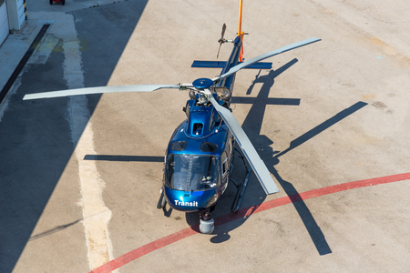 Helicopter service in the port of Barcelona Editorial
