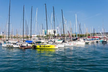 Crews on sail boats in preparation for a regatta at Port Vell in Barcelona