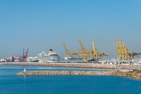 View direction Zona Franca Port the industrial harbor of Barcelona. Stock Photo