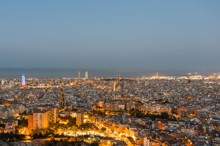 Top view and night photography from an illuminated Barcelona