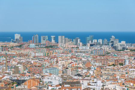Top view to the Barcelona district El Poblenou. The location, the location, the location, the location, the location, the location, the location, the location Stock Photo
