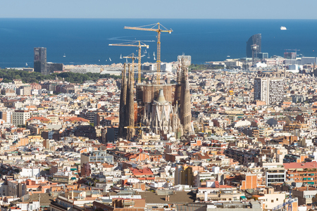 Top view of the construction site Sagrada Familia, the famous building from Antoni Gaudi Editorial