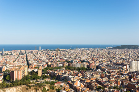 View from the Parc del Guinardo to Barcelona Stock Photo